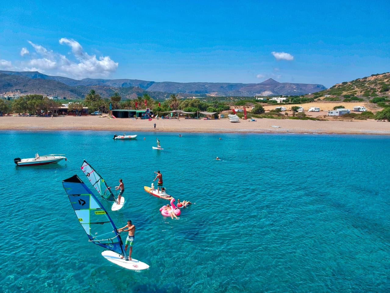 windsurfing lessons kouremenos beach, foil windsurfing lessons kouremenos, windsurfing rentals, foil windsurfing rentals east crete, kouremenos beach best place for windsurfing, best windsurfing center crete, best equipment for windsurfing crete