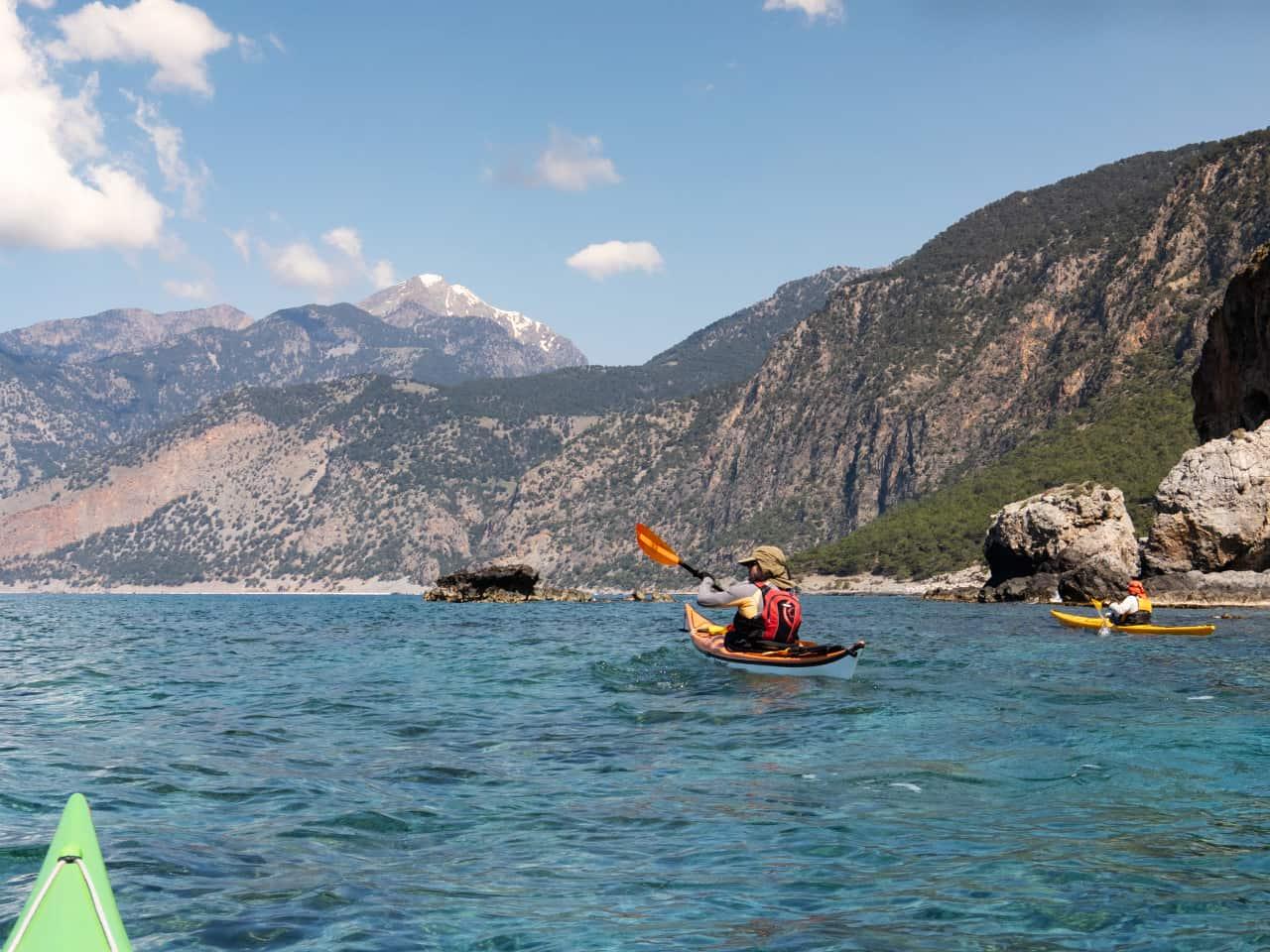 samaria national park sea kayak trip, best sea kayak trip south chania, two day sea kayak trip loutro, sea kayak trip  agia roumeli, sea kayak trip agios pavlos beach