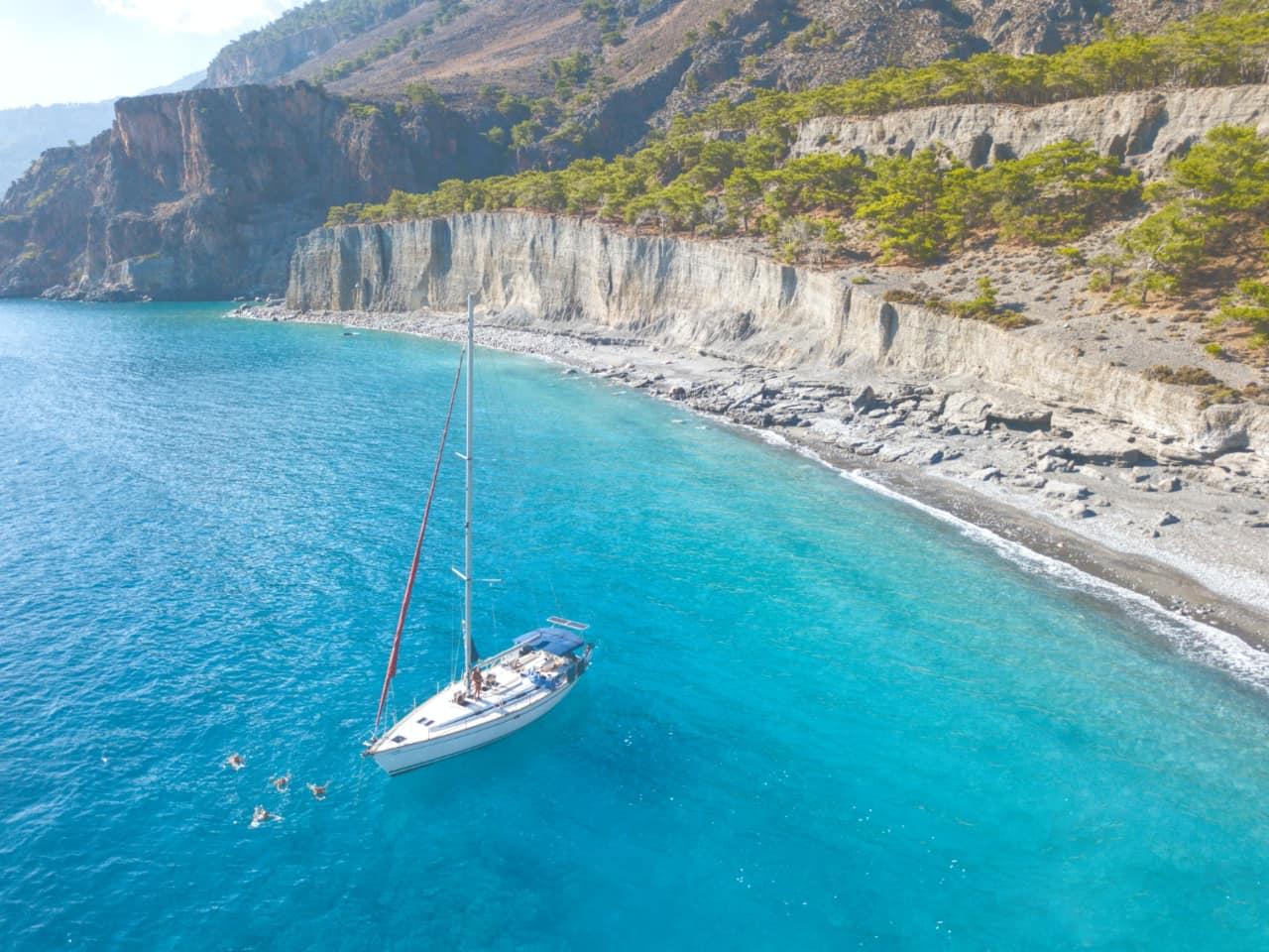 sailing trips south chania crete, sailing trips loutro sfakia, sailing trips samaria gorge crete