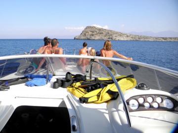 CreteTravel,East Crete,Afternoon Yacht Cruise to Kolokitha Island Enjoying The Sunset