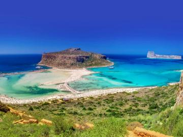 "CreteTravel,West Crete,Private 25"" Speedboat Charter to Balos Lagoon and Gramvousa Island"