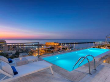 swimming pool, GDM Megaron historical monument hotel, Heraklion Gdm megaron hotel, Gdm historic hotel heraklion crete, luxury hotel heraklion crete, sea views hotel heraklion, old venetian port heraklion best hotel, where to stay heraklion, hotel near heraklion port,