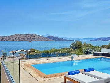 CreteTravel,East Crete,Elounda Seafront Villa With Heated Pool