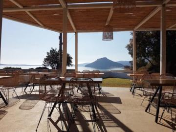 cafe-snack bar of Glaros Apartments, Kouremenos east crete, drinks with sea view