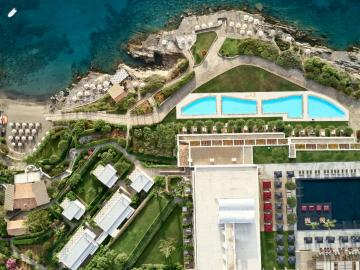 panoramic photo hotel, Minos palace hotel suites agios nikolaos, best adults only hotel crete, adults only beachside hotel crete, luxury hotel adults agios nikolaos crete, sea view suites villas rooms, minoa palace hotel agios nikolaos crete, private beach resort crete agios nikolaos