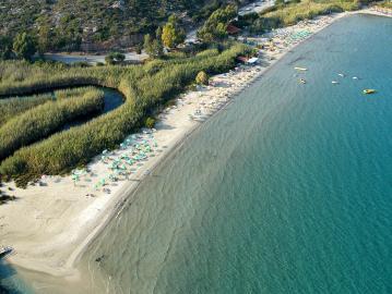 almyros beach crete, almyros sandy beach agios nikolaos crete