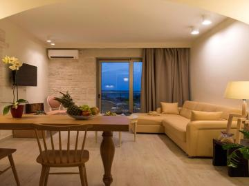 living room, libyan mare hotel suites, Erato Master Suite, paleochora hotels, sea view hotel with pool