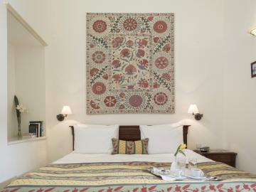 Standard Room bedroom, casa delfino hotel chania crete, boutique hotel chania, best small hotel old town chania