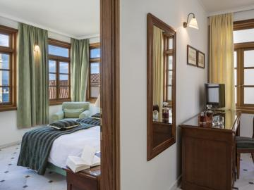 one bedroom suite interior, casa delfino hotel chania, boutique hotel chania, best small hotel chania crete
